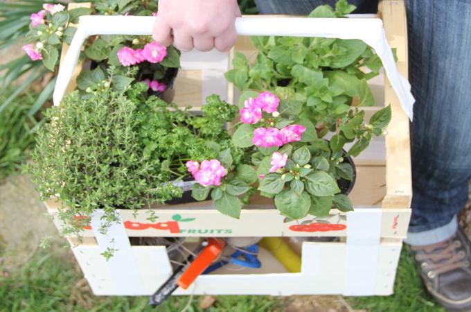 Transformer une cagette en panier de jardin